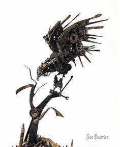 古い時計部品をリサイクルして作るスチームパンクな動物彫刻 (10)