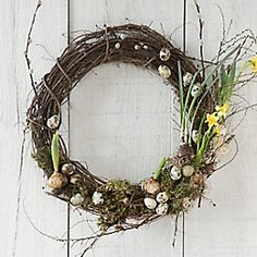 Inspired by natural nests, the wreath above is our favorite accent for the springtime entryway. from Terrain! Diy Wreath, Grapevine Wreath, Valentines Day Birthday, Easter Season, Quail Eggs, Colorful Plants, Spring Sign, Easter Wreaths, Daffodils