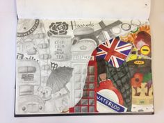 Creating a single image using two different techniques (pencil and acrylic) layered on two different pages. This piece is to symbolise a number of collections that represent London