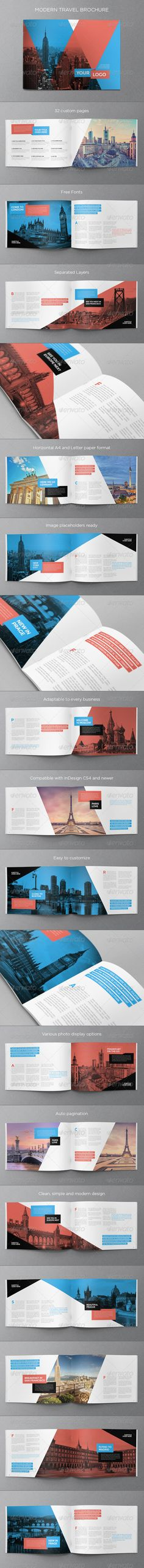 Modern Travel Brochure  InDesign Template • Download ➝ https://graphicriver.net/item/modern-travel-brochure/8753153?ref=pxcr