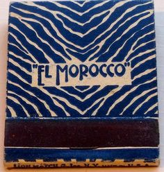 El Morocco #frontstriker #matchbook - To order your business' own branded #matchbooks or #matchboxes GoTo: www.GetMatches.com or CALL 800.605.7331 to get the process started TODAY!