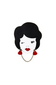 """""""Vintage Lady Brooch is the first instance of jewellery wearing jewellery, a recurring theme in Tatty Devine collections. Vintage Jewelry, Handmade Jewelry, Tatty Devine, Pin And Patches, Crafts To Make, Vintage Ladies, Brooch, Embroidery, Disney Princess"""