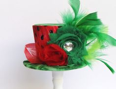 Mini Top Hat Headband, Alice in Wonderland themed Tea Party, WATERMELON, Birthday, Costume, Photo Prop, by Truly Sweet Circus