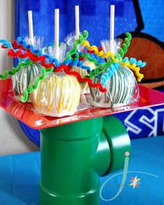 Spray Painted PVC pipes at plate risers-J. At Your Service: Super Mario 3rd Birthday