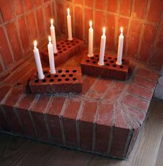 Just can't get enough of taper candles and how versatile they can be ~ Quick DIY brick candle. Candle Lanterns, Diy Candles, Taper Candles, Brick Crafts, Design Scandinavian, Decoration Christmas, Diy Candle Holders, Candle Making, Diy Projects To Try