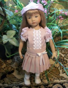 "Dropwaist Dress, Hat and Panty for Effner 13"" Little Darling Dolls in Dusty Pink"