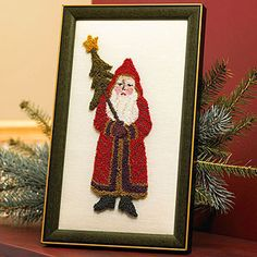 Needle punching gives this Santa Claus design a tufted, dimensional look. Frame the finished product and display it on your mantel or a shelf for the holidays.