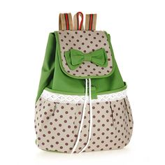 School Leisure Backpack Rucksack Satchel Sweet Canvas Shoulder Bag With Dots And Lace Design Green