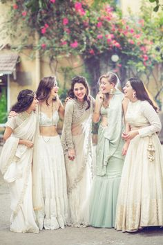 Sabyasachi bride - Indian bride - bridesmaids - pastel -  full sleeved blouse -Indian wedding - regal - saree - net - sheer