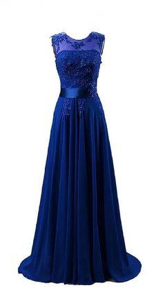 MicBridal® Lang Chiffon Herzförmig Spize Ballkleid Abendkleid mit Perlen und Schleppe Blau 32