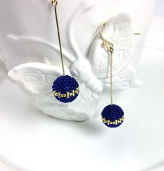 Frosted Blue With Gold Pattern Dangle Earrings by frompgwithlove, $25.00