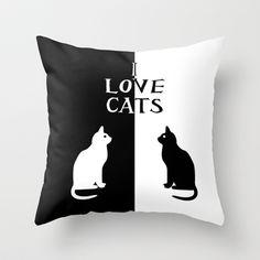 Society6, interior design, home decor, bedding, pillows, throw pillows, animals, cats, OPPOSITES LOVE: CATS Throw Pillow
