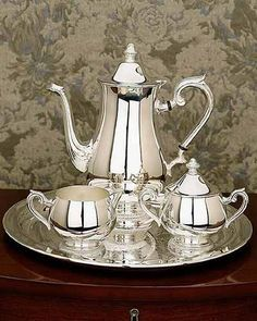 """Silver Tea Service Set, Worthy Luxury ~ """"Reminds Me of My Mother's Formal Set, Brings Back Great Memories of My Elegant 'Social Butterfly' Mom ♥. Vintage Silver, Antique Silver, Silver Tea Set, Reed & Barton, Tea Art, Coffee Set, Argent Sterling, Chocolate Pots, Tea Time"""