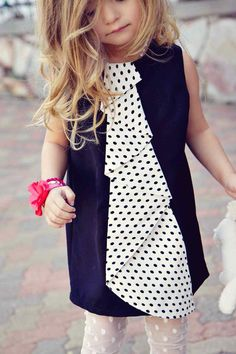 Black Jumper Dress with Polka Dot Cascading by simplicitycouture
