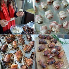 } Dátiles rellenos de queso de cabra y nuez + Dátiles rellenos envueltos en tocino www.pizcadesabor.com