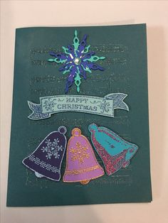 "Stampin' Up ""seasonal bells"" stamps and punch bundle; ""star of light"" die and stamp bundle also by Stampin' Up"