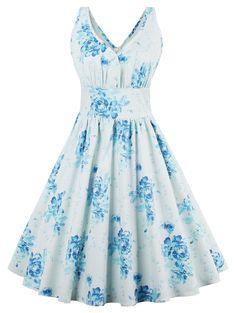 Floral Print Flare Retro Dress - FLORAL L