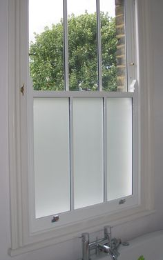 This Double Glazed Sash Window In A Bathroom Has The Added Benefit Of Sandblasted Privacy Gl