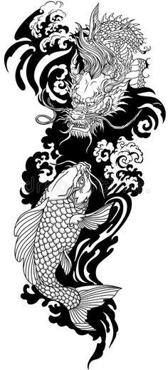 Dragon Koi Tattoo Design, Dragon Tattoos For Men, Japanese Dragon Tattoos, Japanese Sleeve Tattoos, Japanese Tattoos For Men, Koi Tattoo Sleeve, Dragon Sleeve Tattoos, Tattoo Sleeve Designs, Japanese Fish Tattoo