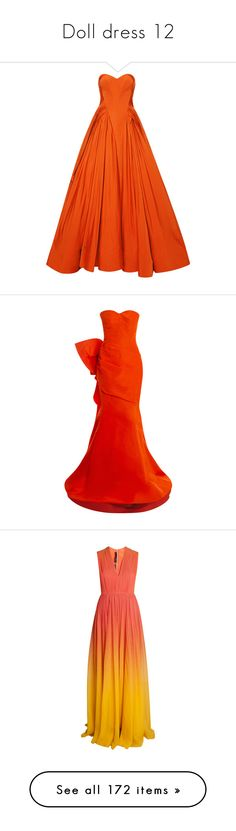 """Doll dress 12"" by pullenjustina ❤ liked on Polyvore featuring dresses, gowns, zac posen, vestidos largos, orange evening dresses, taffeta gown, orange evening gown, off the shoulder evening dresses, sleeved dresses and oscar de la renta"