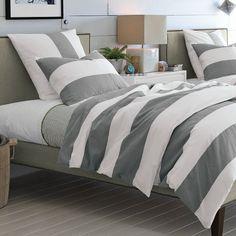 Stripe Duvet Cover + Shams - White/Feather Gray