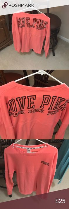 Coral Victoria's Secret pink campus crew M Oversized perfect condition. Only trading for ISO items exact ones PINK Victoria's Secret Tops