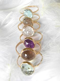 Beautiful Recycled 14k Gold, Stacking Gemstone Ring. I love these
