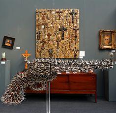 London Art Fair 2013:  Peacemaker by Nancy Fouts, 2012, metal, wood and painted rose thorns, Photo ©Aybige Mert