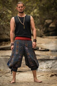 Clovers Thai Hill Tribe Fabric Unisex Harem Pants with Ankle Straps in