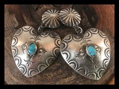 NAVAJO~STERLING SILVER ~TOOLED ~TURQUOISE ~HEART EARRINGS ~BY VINCENT PLATERO | eBay