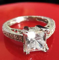 Exquisite 2.06 ct Princess man made diamond Engagement ring 14K SOLID White GOLD