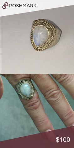 Large Opal Moonstone Ring Genuine pear shaped opal moonstone set in Sterling silver. Nice detail. Hallmarked 925 Vintage Jewelry Rings