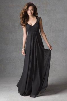 Vintage Inspired V Neck Chiffon Lace Long Bridesmaid Dress   LynnBridal.com
