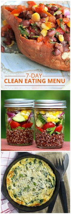 Day Clean-Eating Menu - Jumpstart a Healthy Eating Plan Our 7 Day Clean Eating Menu is ideal for jump starting a healthy eating plan! Our 7 Day Clean Eating Menu is ideal for jump starting a healthy eating plan! Clean Eating Vegetarian, Clean Eating Meal Plan, Eating Plans, Healthy Eating, Clean Diet, Diet Plans, Clean Foods, Clean Eating Recipes, Cooking Recipes
