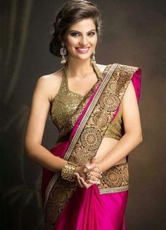 Buy Profusion bollywood replica dark pink georgette party wear designer saree Online India - 3028753