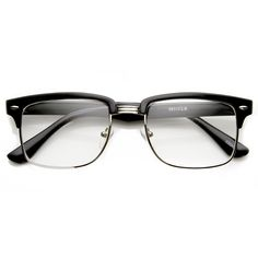 Classic Square Vintage Inspired Clear Lens Clubmaster Wayfarer Glasses   zeroUV