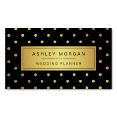 Wedding Planner - Black White Gold Dots Business Card Templates