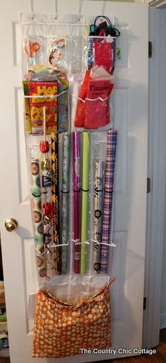 Try this DIY gift wrap storage from 'Country Chic Cottage'. Angie shows you step by step how to put this together. Perfect idea! Right now my gift wrap is shoved into a corner of my linen closet