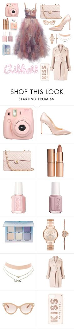 """""""Abiball"""" by chiara-calcagno ❤ liked on Polyvore featuring Fujifilm, Jimmy Choo, Chanel, Charlotte Tilbury, Essie, Anastasia Beverly Hills, Michael Kors, Charlotte Russe, Miss Selfridge and Valentino"""