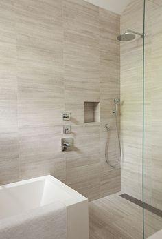 Amusing Limestone Bathroom Tiles In Home Decorating Ideas with Limestone Bathroom Tiles - Agreeable Interior Design Ideas Tile Shower Niche, Bathroom Tub Shower, Tub Shower Combo, Laundry In Bathroom, Shower Floor, Tub And Shower, Bad Inspiration, Bathroom Inspiration, Modern Bathroom