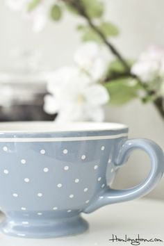 Blue polka dot teacup