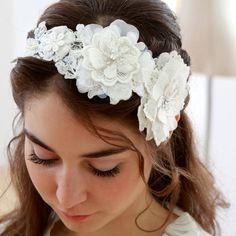 Lace wedding headband bridal lace headband floral by woomeeBridal