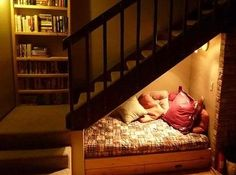 This tiny reading nook tucked under the stairs is perfect for kids -- and Harry Potter fans of all ages!
