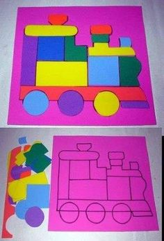 love these activities - shapes, train Train Activities, Toddler Learning Activities, Montessori Activities, Kids Learning, Activities For Kids, Art For Kids, Crafts For Kids, Transportation Crafts, Toddler Fun