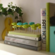 Miniature tabletop forest in shades of green and by FRAGILEtaller, $39.50