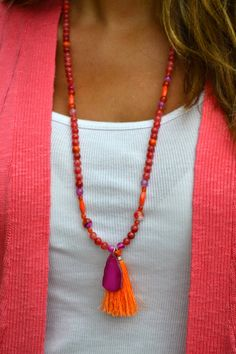 Fun in the Sun Long Beaded Necklace with by uniquebeadingbyme #tassel #necklace #beaded