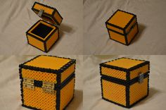 3D Minecraft Perler Chest by ARD95 on DeviantArt - Tutorial : http://www.deviantart.com/art/Perler-Chest-Tutorial-499852484