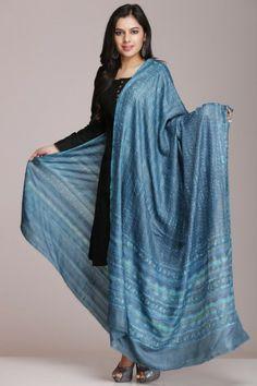 Blue Hand Block Printed Tussar Silk Dupatta