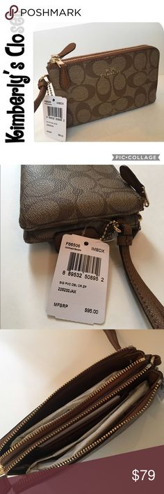 """✨COACH✨ Signature Double Zip Corner Wristlet COACH Signature coated canvas - khaki/saddle color.  2 Inside multifunction pockets (will fit iPhone - not plus size) and 2 credit card pockets.  Gold -tone zip closure, fabric lining.  Wrist strap attached.  6 1/2"""" (L) x 3 3/4"""" (H).  Brand new with tags. Coach Bags Clutches & Wristlets"""