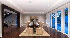 Grey Spacious Dining Area with Large Picture Windows